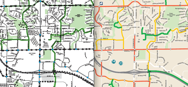 Madison Bike map - 2009 vs 2011